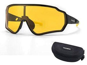 RockBros Lunettes de Cyclisme Polarisées HD Lunettes de Soleil Colorées Coupe-vent avec Protection UV400 pour Vélo Course Pêche Golf Randonnée Ski Jaune Rouge Brun Coloré