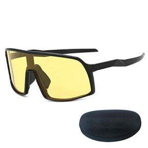 Verres de Cyclisme de Sport, lentilles Jaunes de Jantes Noires avec boîte, Convient à la pêche au Cyclisme de Golf Black