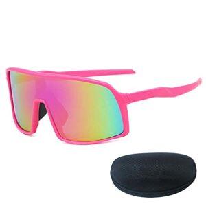 Verres de Cyclisme pour Hommes pour Femmes, Jante Rose Grand Taille Lentilles HD avec boîte, adaptée au Cyclisme de Golf Pêche Alpinisme Conduite Pink