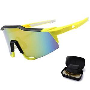Verres de Cyclisme Sportifs polarisés, 3 lentilles pour Femmes pour Hommes, Protection de la sécurité Confortable et Respirante, Convient au Baseball allant de la pê Yellow/Black