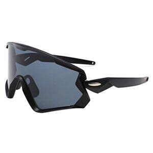 Verres de Sport à Cyclisme, Gris de Grande Taille UV Protection Lens Confortable et Respirant avec boîte, randonnée à vélo pour Adultes Black/Black