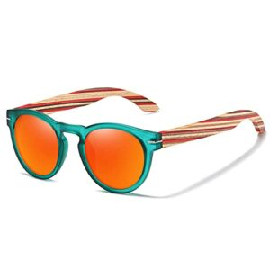 YDDLIE Lunettes de soleil polarisées, lunettes de soleil polarisées pour femmes, montures en plastique, branches en bois, verres miroir UV400