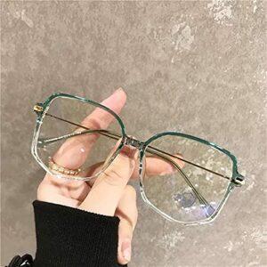 yqs Lunettes pour Lire Anti Blue Light Anti Blocking Filtre Lunettes Mode Femmes Mens Goggles Rétro Metal Transparent (Frame Color : Green)