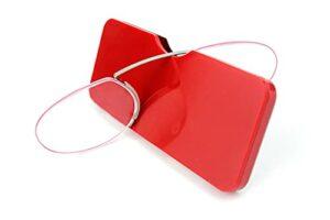 yqs Lunettes pour Lire Lecture de Mousse sans rationnelle Clip Nez sur Mini pour Hommes Femmes Pince-Nez Loupe Portable Ovale avec Cas +1 1.5 2 (Eye Prescription : +250, Frame Color : Red)