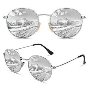 CGID Lunette de Soleil Femme Polarisée Rondes Designer Style Protection UV400 Ladies Lunettes de Soleil