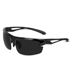 CHEREEKI Lunettes de Soleil, Polarisées Lunettes De Soleil avec 100% Protection UV400 et Monture incassable TR90 pour la pêche au Golf en Cours d'exécution à vélo