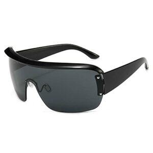 DLSM Semi-rimes Shades pour lunettes de soleil pour femmes UV400 très propres pour la course, la montagne, le vélo, la moto, la conduite, le golf-C1 gris noir