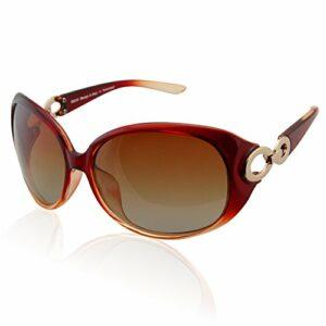 Duco Lunettes de soleil pour femme Lunettes de soleil polarisées classiques 100% anti-UV 1220 (Dégradé brun)
