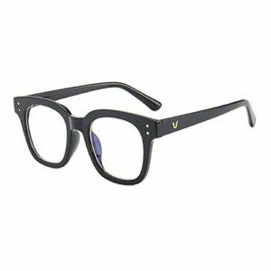Gosunfly Rouge net avec la même monture de lunettes plates à grande monture en métal pour filles à la mode pour hommes Version coréenne de lunettes de myopie lunettes-Black Frame Rice Nail