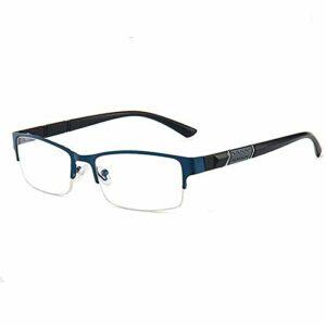 Gosunfly Rouge net avec la même monture de lunettes plates à grande monture en métal pour filles à la mode pour hommes Version coréenne de lunettes de myopie lunettes-bleu gem_600 degrés pour les yeu