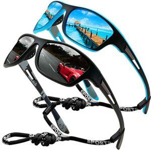 Lunettes de soleil polarisées pour hommes femmes/Cool Fishing Golf Cyclisme Le golf Conduite Pêche Escalade Ancien Lunettes Sports de plein air des lunettes de soleil (2 Pack (Black/Blue))