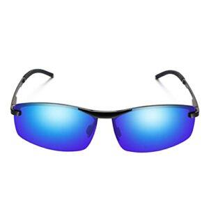 Lunettes de soleil polarisées unisexes avec protection UV400 pour sports de plein air, golf, cyclisme, course à pied, pêche, randonnée, ski, bleu