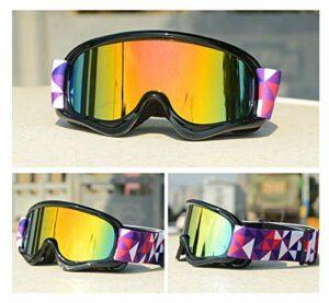 Moonlight Star Lunettes de Ski pour Enfants Double Anti-Brouillard UV400 Enfants Verres de Ski Snow Eyewear Sports de Plein air Garçons Snowboard Lunettes de Snowboard (Color : Black Frame Red Len)
