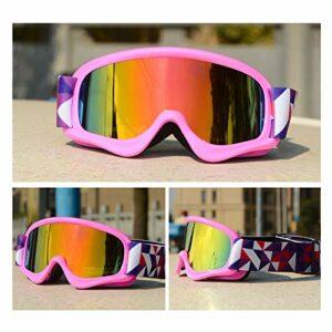 Moonlight Star Lunettes de Ski pour Enfants Double Anti-Brouillard UV400 Enfants Verres de Ski Snow Eyewear Sports de Plein air Garçons Snowboard Lunettes de Snowboard (Color : Pink Frame Red Lens)