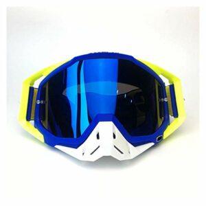 Moonlight Star Lunettes de vélo de Moto en Plein air Vélo Hors Route Sports de Ski Hors Route VTT Dirt Vélo Verres de Course pour Goggles de Motocross (Color : Blue)