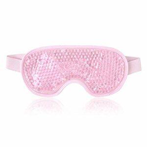 PPuujia Masque en gel réutilisable pour les yeux – Pour thérapie par le chaud et le froid – Relaxant – Beauté – Masque pour les yeux – Masque de sommeil – Masque de sommeil – Rose