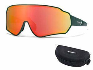 RockBros Lunettes de Soleil Lunettes de Vélo Cyclisme Polarisées HD Colorées Coupe-vent avec Protection UV400 pour Vélo Course Pêche Golf Randonnée Ski Jaune Rouge Brun Coloré