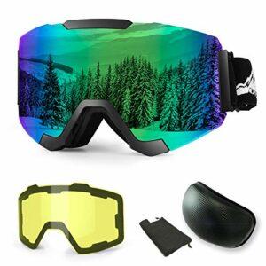 WLZP Lunette de Ski,Masque de Ski Magnétiques Interchangeables avec 2 Lentilles, Masques Snowboard Protection Anti-buée UV400 Lunettes de Snowboard avec pour Hommes, Femmes et Enfants