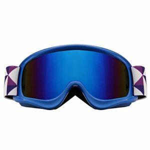 XKMY Lunettes de ski anti-éblouissement pour enfants – Coupe-vent UV400 – Anti-buée – Bleu