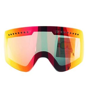 XKMY Lunettes de ski magnétiques haute définition anti-buée UV400 pour motoneige, patinage, ski (couleur : rouge)