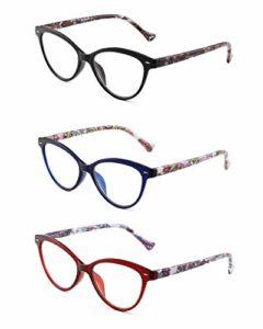 3 Paquet Lunettes de Lecture Styliste Modéliste Oeil de Chat Verre de Presbyte Charnière à Ressort pour Lcteurs Femmes +3.0 Melange de Couleurs