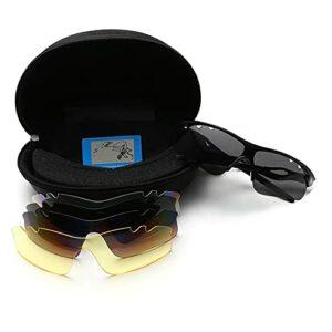 4 lunettes d'équitation lunettes de soleil polarisées Set d'extérieur Lunettes de sport Vélo Lunettes de soleil coupe-vent Verres Verres Polarized Road Vélo Vike Verres Pêche Sunglasses de randonnée V