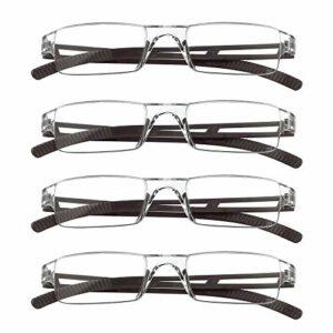 4 paires de lunettes de lecture, lunettes de blocage de lumière bleue, lunettes de lecture d'ordinateur pour femmes et hommes, monture de lunettes de mode rectangulaire (4 Marron, 2.00)
