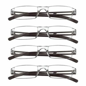 4 paires de lunettes de lecture, lunettes de blocage de lumière bleue, lunettes de lecture d'ordinateur pour femmes et hommes, monture de lunettes de mode rectangulaire (4 Marron, 2.25)