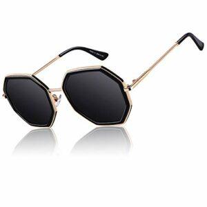 CGID lunettes de soleil polarisées surdimensionnées classiques pour femmes rétro lunettes 100% UV400 Nuances Noir Octogone Cadre Gris Lentille M55