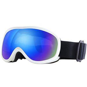 CLCL Lunette Ski Anti-UV et Antibrouillard pour Ski, Masque de Ski Design Panoramique à 180°, Masque de Ski Lunettes d'anti-buée et Coupe-Vent pour Les Hommes,Les Femmes et Les Jeunes,Blanc