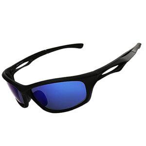 DBMGB Lunettes de Soleil Sports polarisés, Lunettes Coupe-Vent, pour Hommes Femmes Cyclisme en Cours de pêche Golf de pêche au Golf de Baseball,Bleu