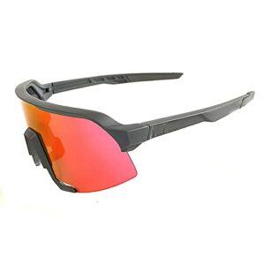 DBMGB Lunettes de Soleil Sports polarisés, Lunettes Coupe-Vent, pour Hommes Femmes Cyclisme en Cours de pêche Golf de pêche au Golf de Baseball,Gris
