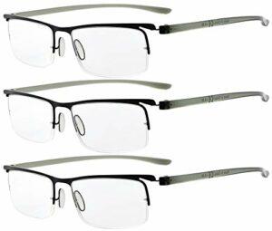Eyekepper 3 pièces temples en plastique demi-monture légère lunettes de lecture hommes femmes Noir +3.0