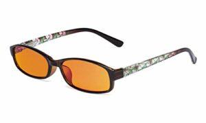 Eyekepper lunettes de lecture d'ordinateur de blocage de la lumière bleue femmes – lunettes de vue temple floral design femmes avec lentille orange, Vert +1.75