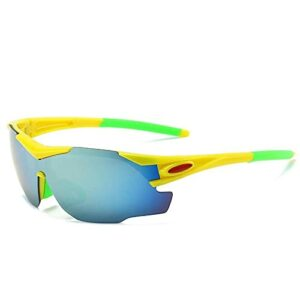 Gosunfly Lunettes de soleil pour hommes lunettes de cyclisme lunettes de soleil de sport de pêche en plein air lunettes-NO.9 cadre jaune film bleu glace