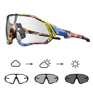 KAPVOE Lunettes de cyclisme photochromiques avec TR90 Lunettes de soleil de sport Femmes Hommes Course à pied Clair VTT Accessoires de vélo 01