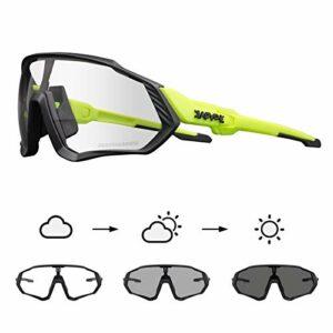 KAPVOE Lunettes de cyclisme photochromiques avec TR90 Lunettes de soleil de sport Femmes Hommes Course à pied Clair VTT Accessoires de vélo 20A
