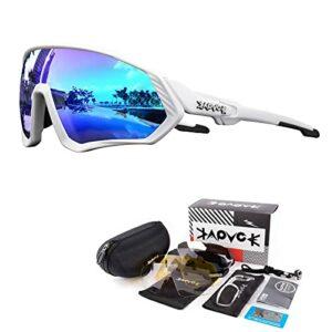 KAPVOE Lunettes de cyclisme polarisées avec 5 lentilles interchangeables pour hommes femmes Plein écran TR90 Léger MTB Sports Cycling Sunglasses 07