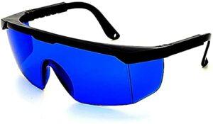 Macllar Protection de lunettes IPL, Lunettes laser Lunettes de protection pour graveur laser Lunettes de protection des yeux Lunettes de sécurité pour travailler avec un étui à lunettes, Bleu