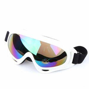QWERTYU Masque de ski de protection pour le sport, le snowboard, le skate, le ski, le vent, la poussière et les UV., Blanc coloré.,