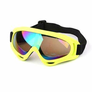 QWERTYU Masque de ski de protection pour le sport, le snowboard, le skate, le ski, le vent, la poussière et les UV., Jaune coloré,