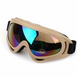 QWERTYU Masque de ski de protection pour le sport, le snowboard, le skate, le ski, le vent, la poussière et les UV., Kaki coloré,