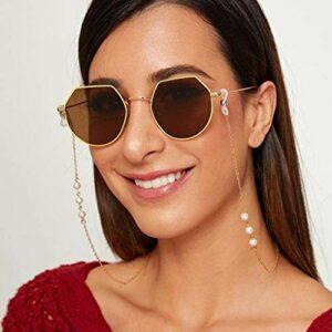 Sethexy Or perle Chaîne de lunettes Mode Perle Chaîne de masque facial Femmes Chaîne de lunettes de soleil Accessoires pour Lunettes et Masques faciaux (2 pièces)