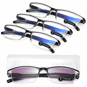 TERAISE Lunettes de lecture lot de 4 lunettes de lecture bloquant la lumière bleue pour hommes / femmes lunettes d'ordinateur comprend 1 paquet de lunettes de soleil de lecture d'extérieur(1.5X)