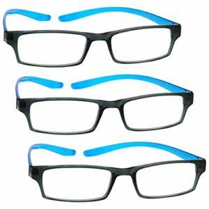 The Reading Glasses Lunettes de Lecture Noir Bleu Lumineux Cou Lecteurs Valeur Set de 3 Hommes Femmes RRR20-3 +3,50
