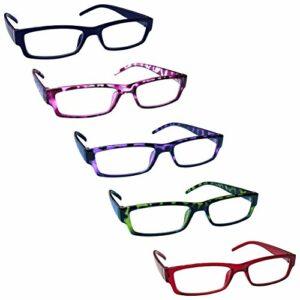 The Reading Glasses Lunettes de Lecture Valeur Set de 5 Léger Hommes Femmes Bleu Rose Pourpre Vert Rouge RRRRR32-3456Z +1,00