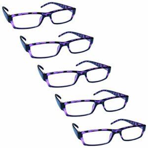 The Reading Glasses Lunettes de Lecture Violet Écaille Valeur Set de 5 Léger Hommes Femmes RRRRR32-5 +2,50