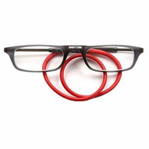 ZZAI Lunettes de lecture Magnétiques suspendues colorables portables/hommes et femmes HD TR90 Anti-fatigue Lunettes de lecture 6 diopter 4 couleur gris boîte rouge corde-1.0
