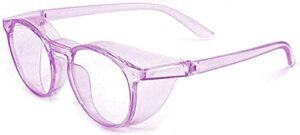Anti Fog Safety Goggles Photochromic Safety Goggles Anti Saliva Anti Pollen Safety Glasses With Side Shield Intelligent Color Changing Glasses UV Protection PC for women-Purple