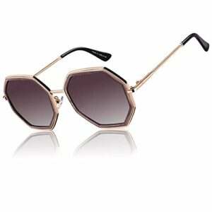 CGID lunettes de soleil polarisées surdimensionnées classiques pour femmes rétro lunettes 100% UV400 Nuances Marron Octogone Cadre Dégradé Marron Lentille M55